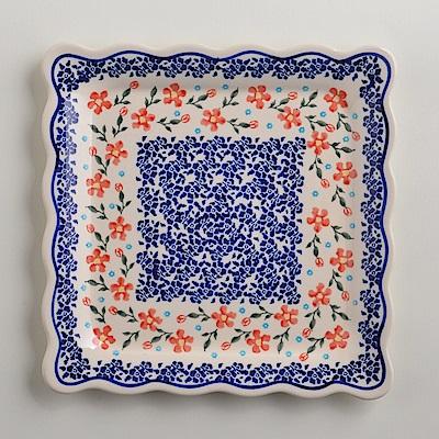 波蘭陶手工製 藍印紅花 方形餐盤24cm
