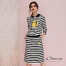 OUWEY歐薇 Smile鑽飾條紋兩件式套裝(黑)