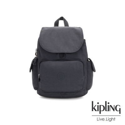Kipling 都會簡約霧灰色拉鍊掀蓋後背包-CITY PACK