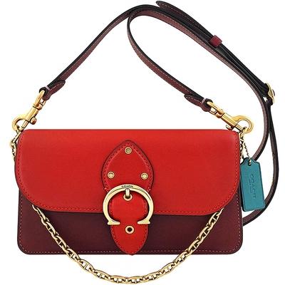 COACH 專櫃款 BEAT紅色皮革撞色鍊帶手提/斜背兩用包