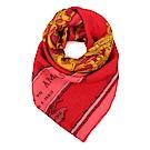 HERMES Grand Carrosse 圖騰真絲披肩方型圍巾-紅色