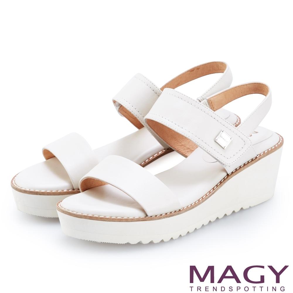 MAGY 舒適雙帶牛皮厚底涼鞋 白色