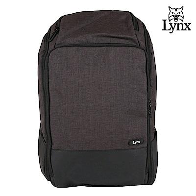 【LYNX】美國山貓商務休閒多隔層機能後背包-黑色