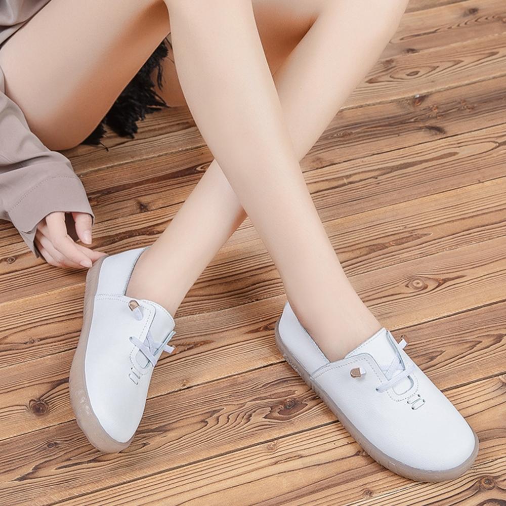 LN 現+預 韓版真皮免綁軟底小白鞋(豆豆鞋/休閒鞋) (白色)