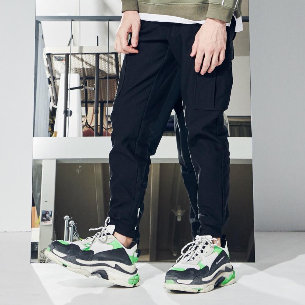 CACO-後反光口袋縮腳褲-男【QNC078】