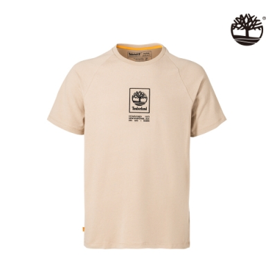 Timberland 男款淺泥土色刺繡LOGO重磅短袖圓領T恤|A2DVY