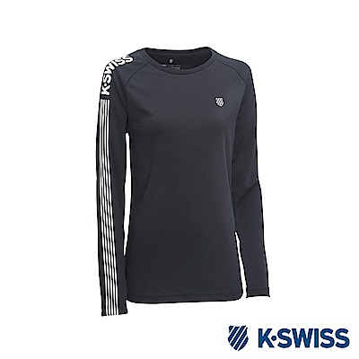 K-Swiss Long Sleeve T-Shirts 印花長袖T恤-男-黑