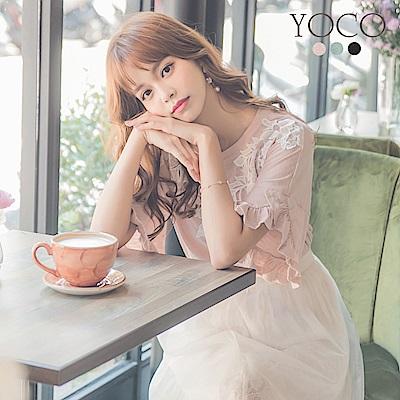 東京著衣-yoco 韓妞單品多色蕾絲花邊荷葉袖上衣(共三色)
