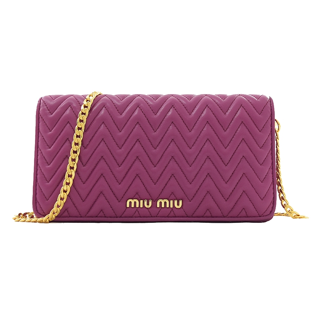 MIU MIU 金屬LOGO山型紋小牛皮迷你磁釦斜背鍊包(紫紅)