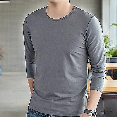 G+居家 男款輕磨毛暖暖發熱衣-圓領-淺灰