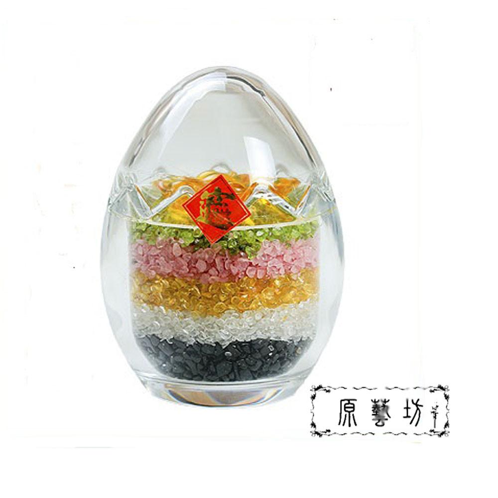 原藝坊 五行碎石 招財元寶 水晶彩蛋聚寶盆