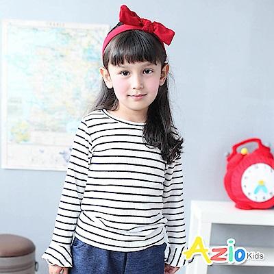 Azio Kids 上衣 喇叭袖造型條紋螺紋彈性長袖T恤(白)