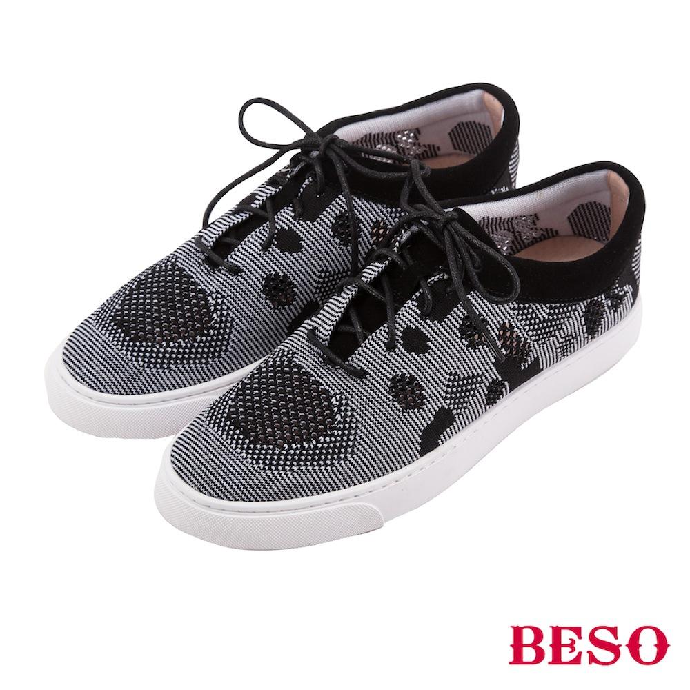 BESO 街頭時髦 運動風輕量點點飛織鞋~黑