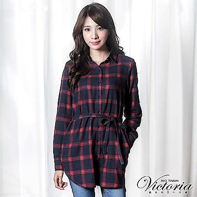 Victoria 格紋綁帶長版長袖襯衫-女-紅藍格