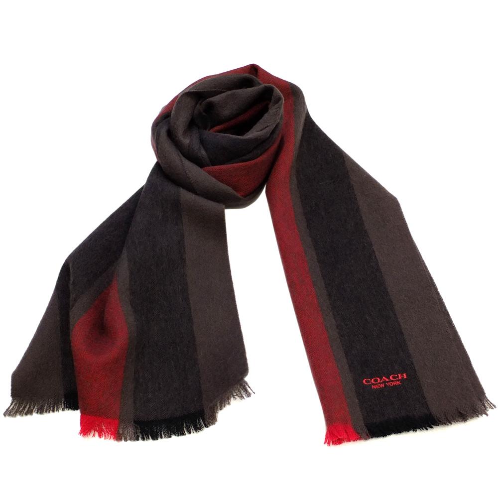 COACH可可拼紅直條紋羊毛圍巾(183x31cm)COACH