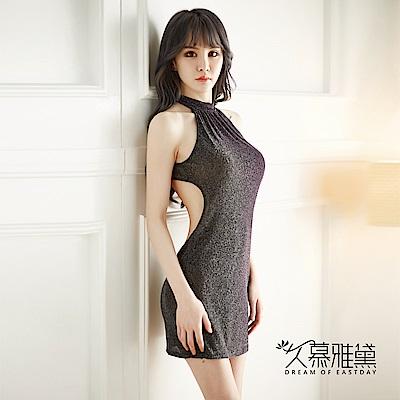 性感睡衣 優雅性感閃光連身裙睡衣。黑色 久慕雅黛