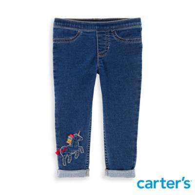 【Carter s】 彩鬃獨角獸立體拼貼丹寧長褲(2T-5T) 任選 (台灣總代理)