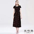【麥雪爾】天鵝絨滿版玫瑰刺繡假兩件洋裝