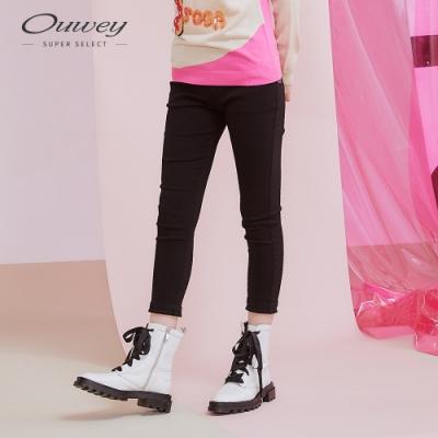 OUWEY歐薇 彈力收腹提臀百搭窄管褲(黑/米)