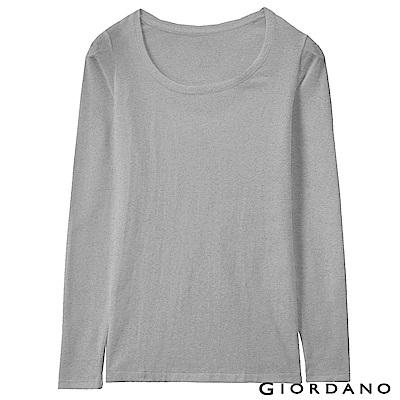 GIORDANO 女款Beau-warmer plus+彈力圓領極暖衣-03 灰色