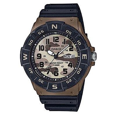 CASIO 潮流迷彩風潛水設計運動指針錶(MRW-220HCM-5B)咖啡框/47.9mm