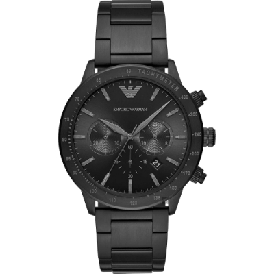 EMPORIO ARMANI 亞曼尼 個性計時手錶-黑/43mm(AR11242)