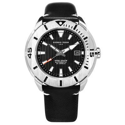 GIORGIO FEDON 1919 自動手動上鍊真皮機械錶-黑色/47mm