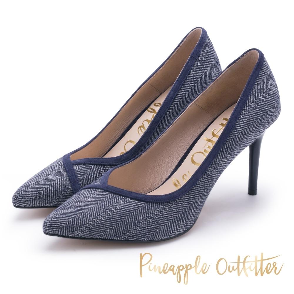 Pineapple Outfitter-SHERLOCK個性美型丹寧尖頭平底鞋-藍色