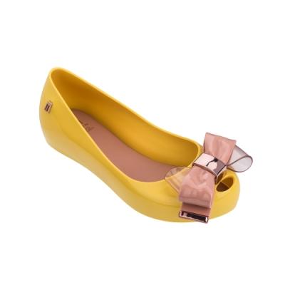 Melissa 金屬蝴蝶結娃娃鞋(兒童款)-黃