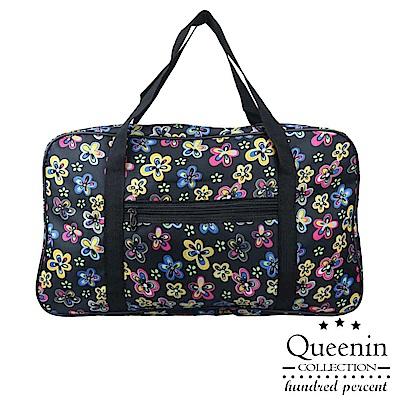 DF Queenin - 出國馬上走!超輕超大容量旅行袋可掛行李桿-多彩花花