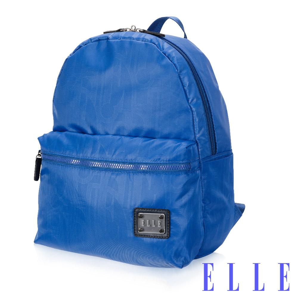 ELLE 法式優雅休閒系列輕細尼龍防潑水3C夾層後背包-海藍色