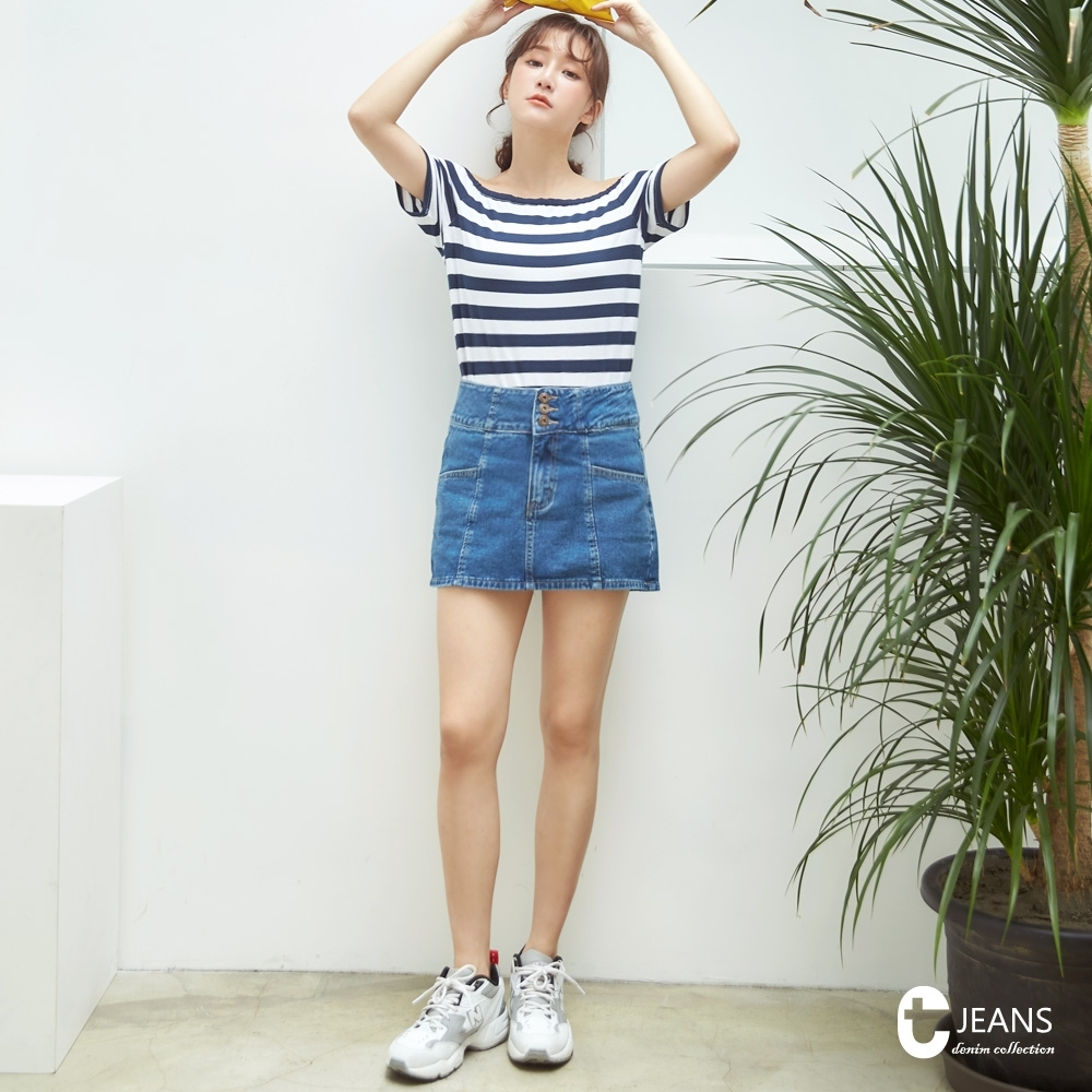 CANTWO JEANS排釦不規則丹寧短裙-牛仔藍