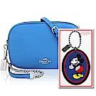 COACH 水藍色荔枝紋皮革鍊帶斜背包+COACH Disney藍色MICKEY造型吊飾