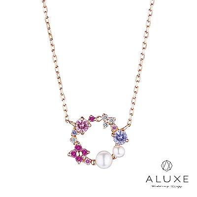 A-LUXE 亞立詩 Shine系列 10K紅色戀愛鑽石項鍊