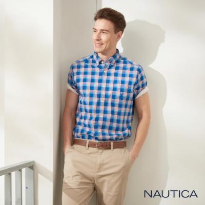Nautica經典格紋短袖襯衫-藍橘格