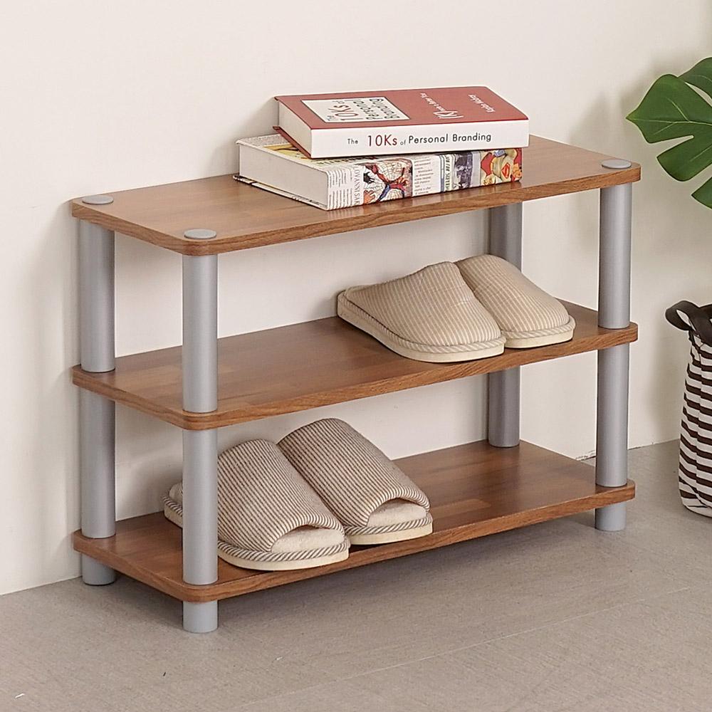 Homelike 極簡風三層開放式鞋架(二色)-60x24x41cm