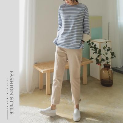 2F韓衣-簡約鬆緊腰扭扣縮口長褲-3色(S-XL)
