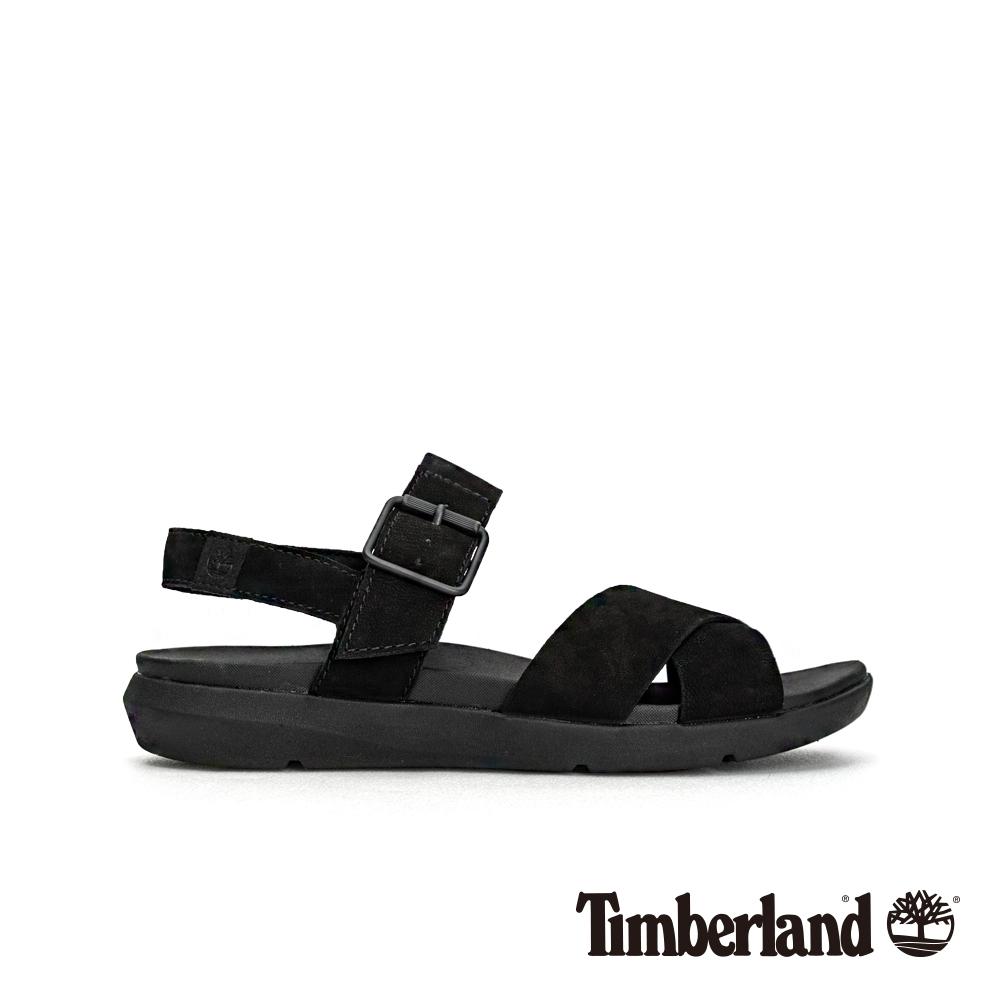 Timberland 女款黑色正絨面革平底露跟涼鞋|A1TSP