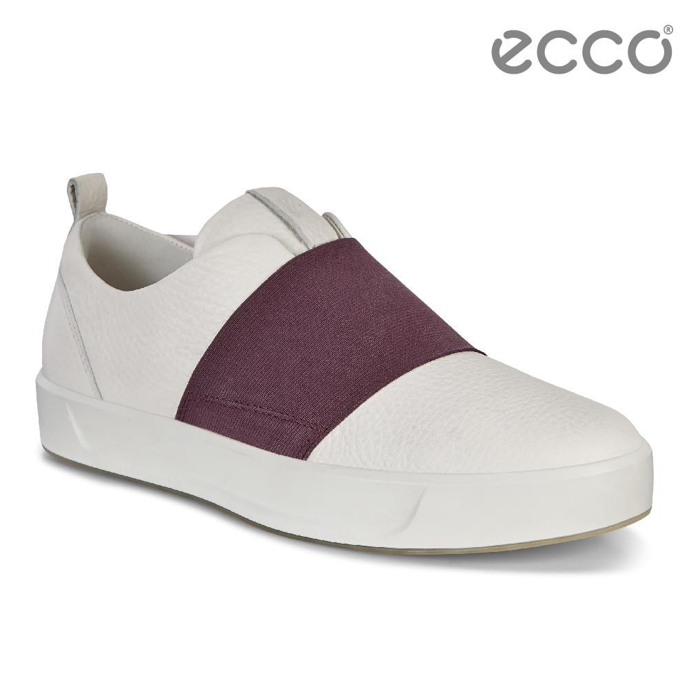 ECCO SOFT 8 LADIES 簡約撞色鬆緊帶設計休閒鞋 女-白/酒紅