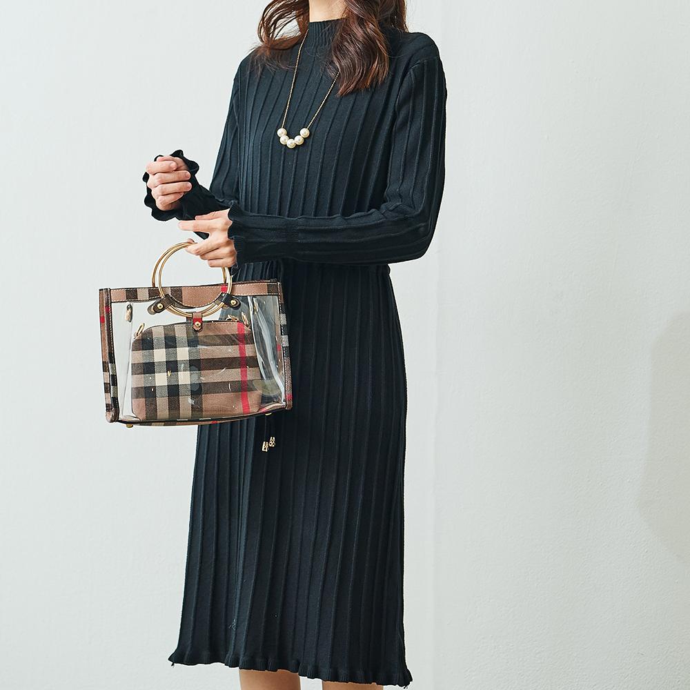 Katie Q 風琴摺束腰針織連衣裙-黑/杏