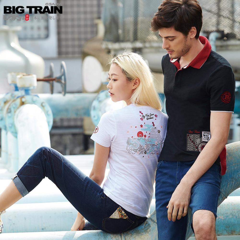 BigTrain 中腰金虎爺刺繡男友褲-女-深藍