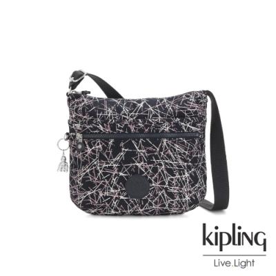 Kipling 英式粉漆塗鴉前拉鍊側背包-ARTO