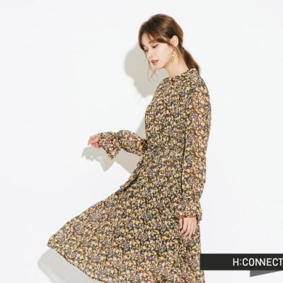 H:CONNECT 韓國品牌 女裝-小立領飄逸碎花洋裝-棕