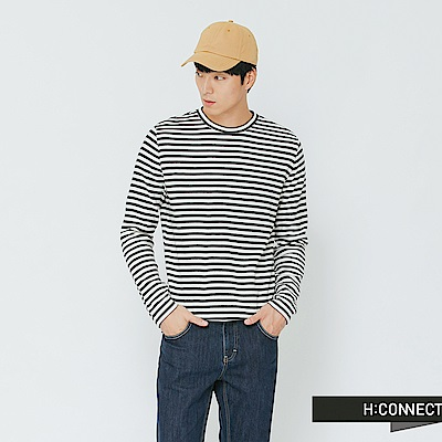 H:CONNECT 韓國品牌 男裝-舒適條紋圓領上衣-藍