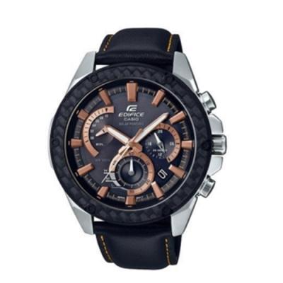 CASIO卡西歐 經典格紋皮革太陽能時計男腕錶(EQS-910L-1A)-黑x48mm