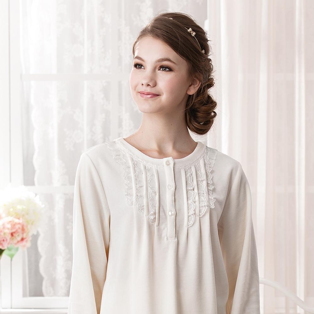 華歌爾睡衣-透氣天鵝絨 M-L 長袖褲(白)
