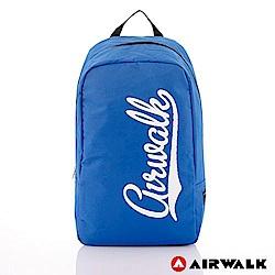 【AIRWALK】快樂曲線 撞色LOGO後背包-藍