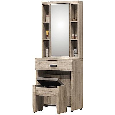 綠活居 利斯瑪時尚2尺旋轉式鏡面化妝台/鏡台(含化妝椅)-60X40.5X170m免組