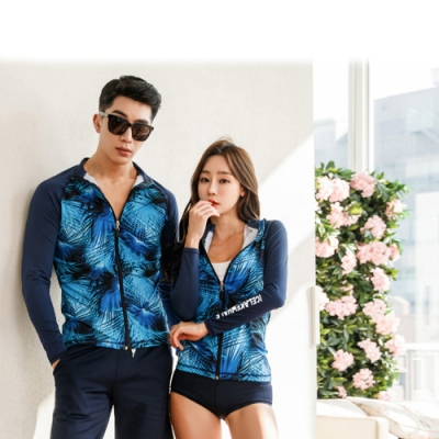 Biki比基尼妮泳衣,藍影長袖三件式男泳衣情侶沖浪泳衣(男購買區)