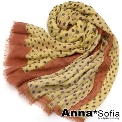 AnnaSofia 波點框邊毛邊 棉麻披肩圍巾(黃系)